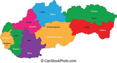 slovakien, karta