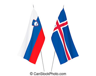 Slovenia and Iceland flags - National fabric flags of ...