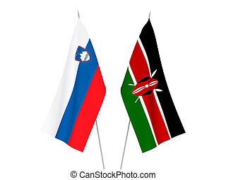 Slovenia and Kenya flags - National fabric flags of Slovenia...