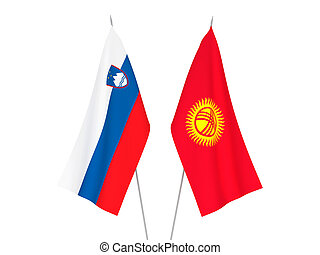 Slovenia and Kyrgyzstan flags - National fabric flags of ...