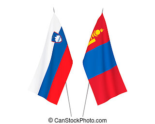 Slovenia and Mongolia flags - National fabric flags of ...