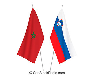 Slovenia and Morocco flags - National fabric flags of ...