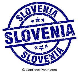Slovenia blue round grunge stamp