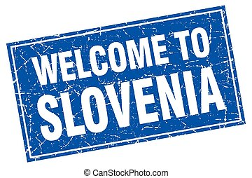 Slovenia blue square grunge welcome to stamp