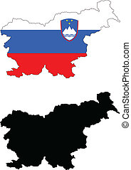 slovenia - vector map and flag of Slovenia with white...
