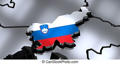 Slovenia - country borders and flag - 3D illustration