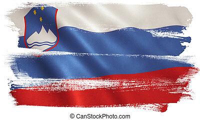 Slovenia Flag - Slovenia flag background with fabric...