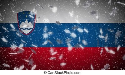 Slovenia flag falling snow loopable, New Year and Christmas ...