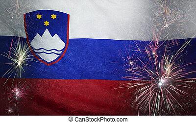 Slovenia Flag Firework Grunge Concept real fabric