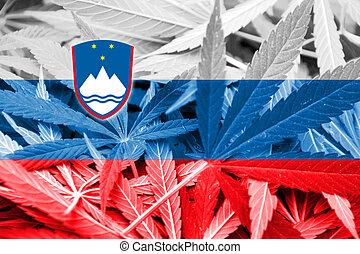 Slovenia Flag on cannabis background. Drug policy....