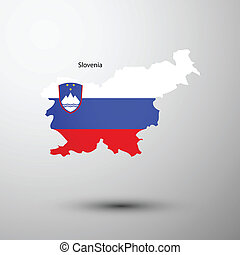 Slovenia flag on map