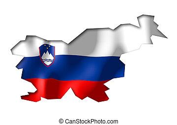 Slovenia - map and flag illustration.