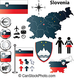 Slovenia map - Vector set of Slovenia country shape with...