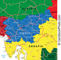 """Highly detailed vector map of Slovenia with administrative regions, main cities and roads."""