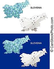 Slovenia map in geometric polygonal