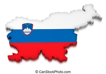 Slovenia - Map of Slovenia. 3d render Image. Image with...
