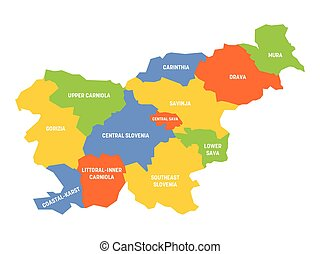 Slovenia - map of statistical regions - Colorful political ...