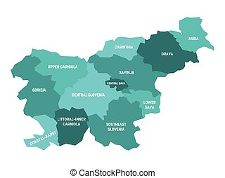 Slovenia - map of statistical regions - Turquoise blue ...