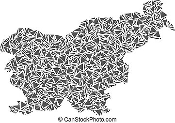 Slovenia Map of Triangles - Vector mosaic abstract Slovenia...