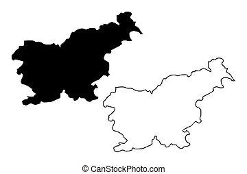 Slovenia map vector