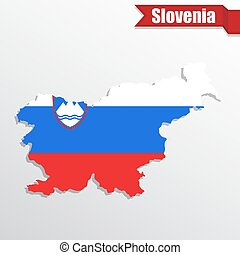 Slovenia map with flag inside and ribbon