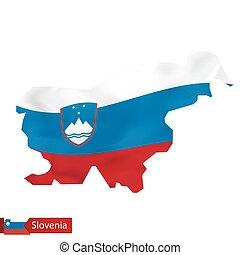 Slovenia map with waving flag of Slovenia.