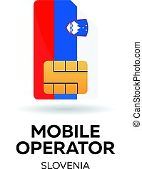 Slovenia mobile operator. SIM card with flag. Vector illustration.