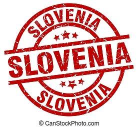 Slovenia red round grunge stamp