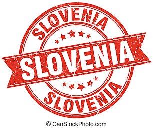 Slovenia red round grunge vintage ribbon stamp