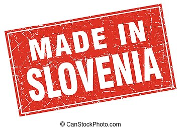 Slovenia red square grunge made in stamp
