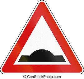 Slovenia road sign - Speed bump.