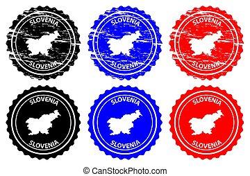 Slovenia - rubber stamp - vector, Slovenia map pattern -...