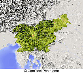 Slovenia, shaded relief map - Slovenia. Shaded relief map...