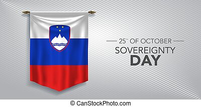 Slovenia sovereignty day greeting card, banner, vector ...