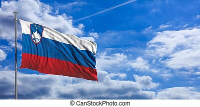 Slovenia waving flag on blue sky. 3d illustration