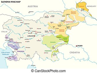 slovenia wine growing regions vector map