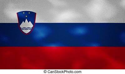 Slovenian dense flag fabric wavers, background loop - ...