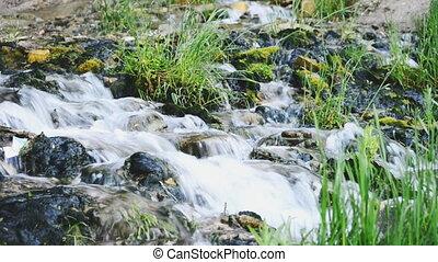 Slovenian keys waterfall in Izborsk, Russia.
