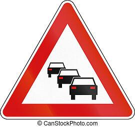 slovenian, rijen, -, meldingsbord, waarschijnlijk, waarschuwend, straat