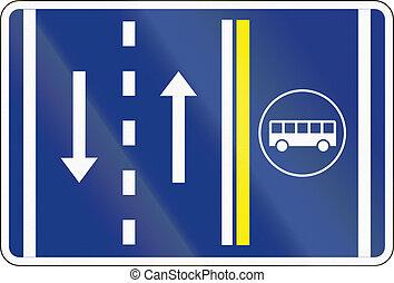 Slovenian road sign - Bus lane Management.