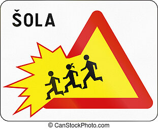 Slovenian road sign with the word: School
