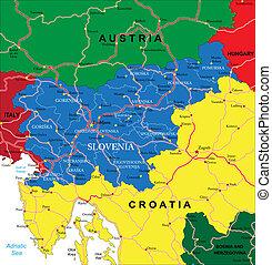 slovenien, karta