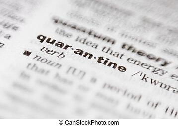 slovník, vzkaz, tištěný, quarantine-