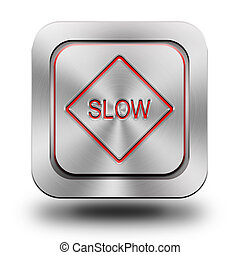 Slow aluminum glossy icon, button, sign