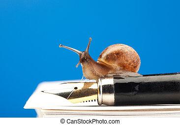 Slow bureaucracy process - Cute snail sitting on expensive...