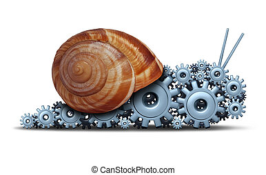 Slow Business concept as a snail shaped as a group of gears ...