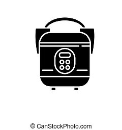 Slow cooker black icon, vector sign on isolated background. Slow cooker concept symbol, illustration