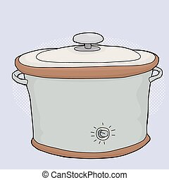 Slow Cooker with Lid - Cartoon electric slow cooker with...