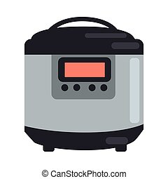 Slow cooking crock pot isolated on white. Electric crock pot slow cooker. Electronic crock pot with display. Steamer or steam cooking chamber. Kitchen device. Cooking equipment. Vector in flat style