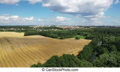Slow flight over a field and forest with a view of the city of Minsk. 4K drone footage.Field Of Belarus.